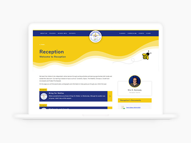 School website design in a laptop device