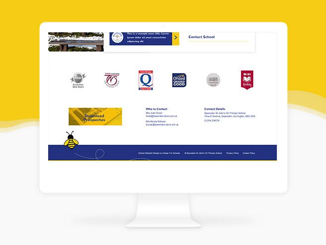 School website design in a desktop device