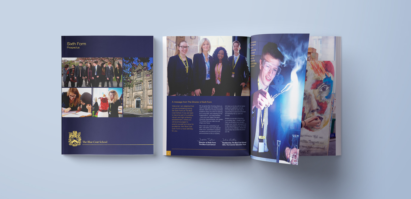 Blue Coat School Sixth Form Prospectus Design