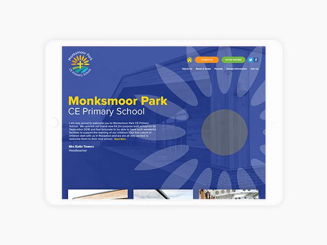 Monksmoor Park Primary School Website Design On Tablet Device