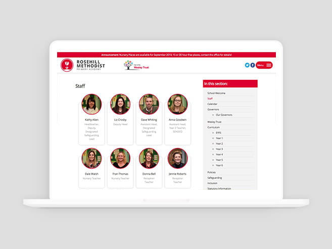 Rosehill primary school website design