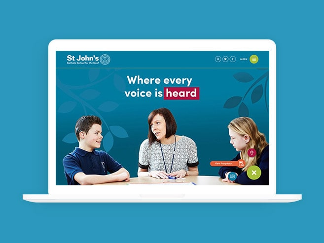 St Johns deaf school website design featured