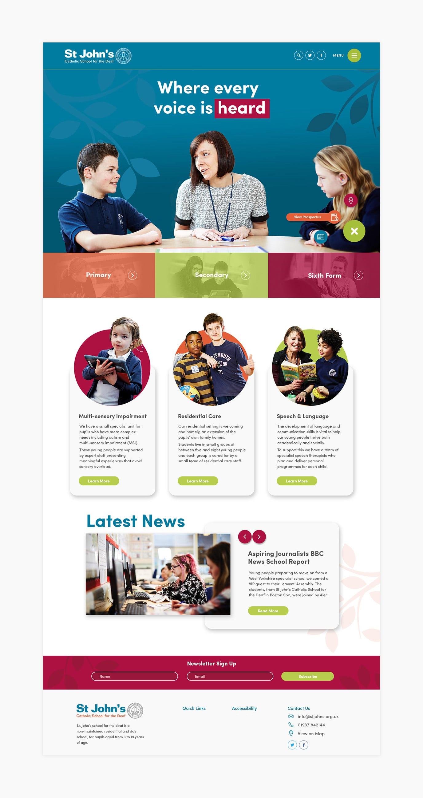 St John's Deaf School website design