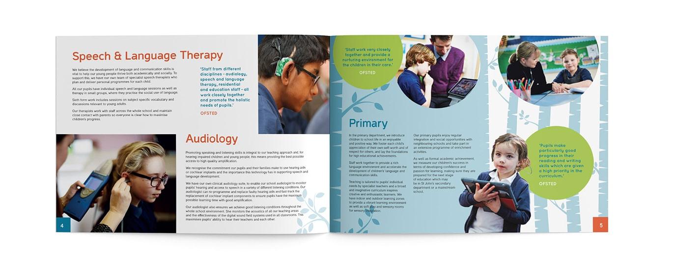 St John's Deaf School prospectus design