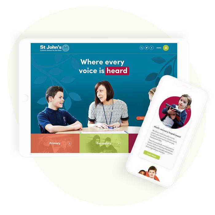 St Johns Deaf School Website Design On Mobile Devices